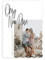 This is a black save the date by Maria Hilas-Louie called Okay, New Plan with standard printing on smooth signature in standard.