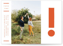 This is a orange save the date by Yours Madly called The Exclamation with standard printing on smooth signature in standard.