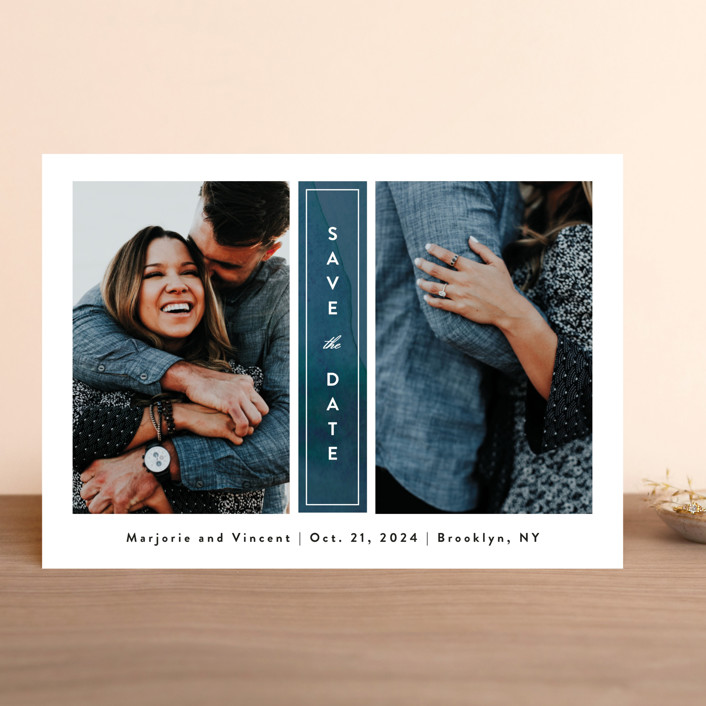 """Romantic Columns"" - Save The Date Cards in Dusty by Jessica Ogden."
