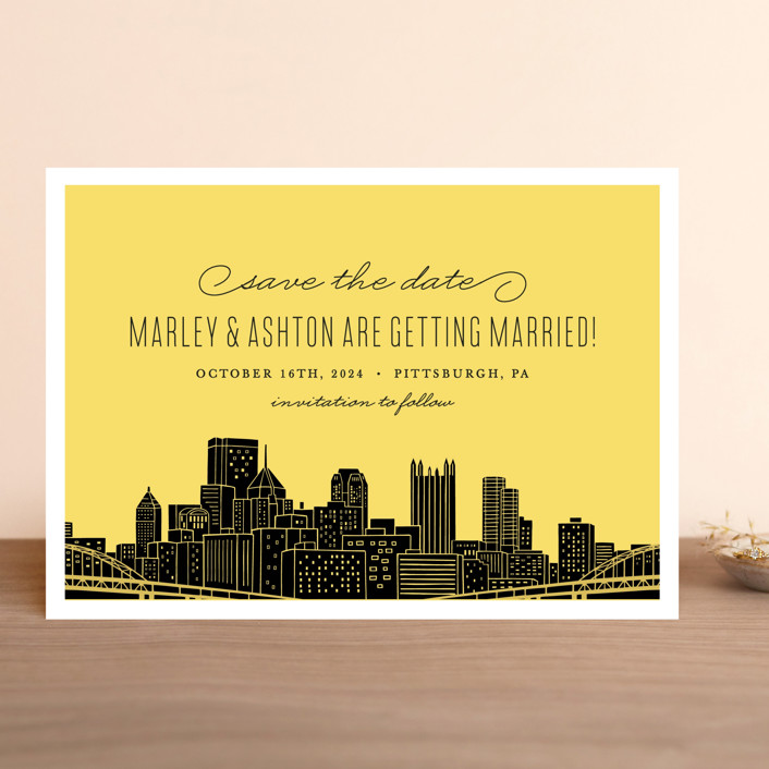 """Big City - Pittsburgh"" - Save The Date Cards in Light Taupe by Hooray Creative."