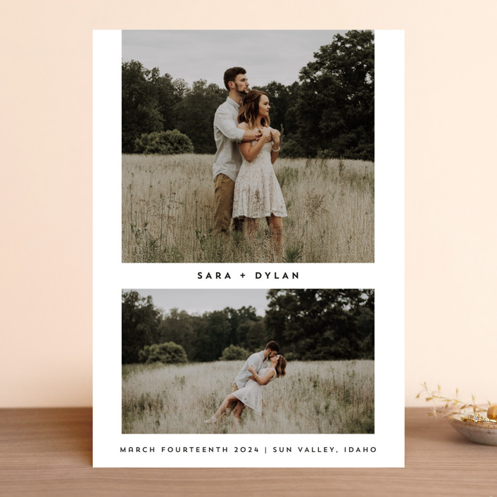 """fresh coupling"" - Minimalist, Simple Save The Date Cards in Cotton by Rebecca Durflinger."