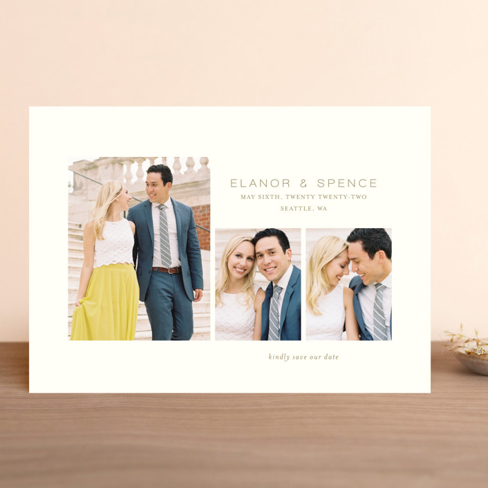 """""""Courtyard"""" - Save The Date Cards in Heather by Kimberly Morgan."""