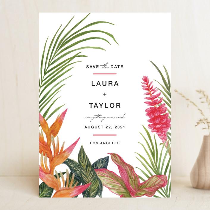"""Resort"" - Destination, Floral & Botanical Save The Date Cards in Leaf by Elly."