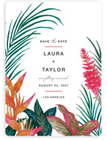 This is a green save the date by Elly called Resort with standard printing on signature in standard.