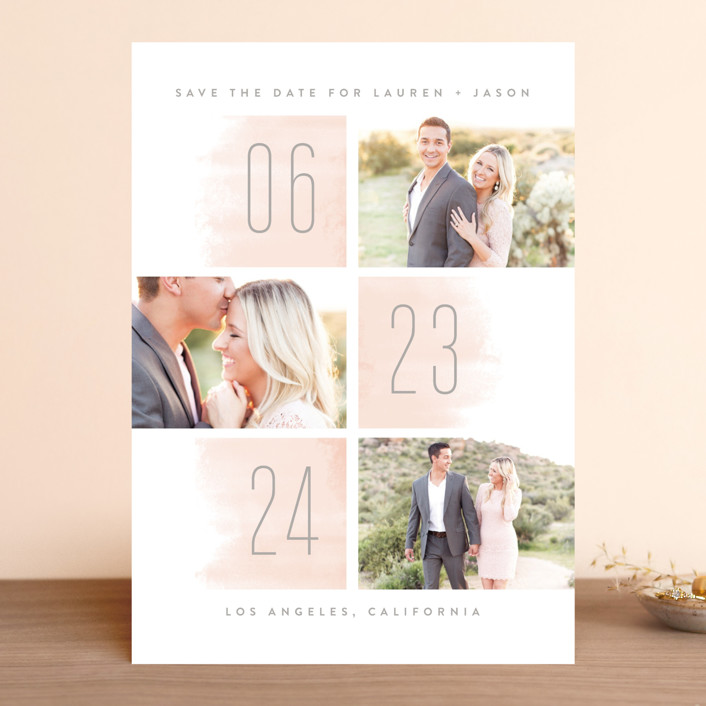 """""""Off the Grid"""" - Modern Save The Date Cards in Blush by Kristie Kern."""