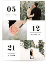 This is a black save the date by Kimberly FitzSimons called Love Series with standard printing on smooth signature in standard.