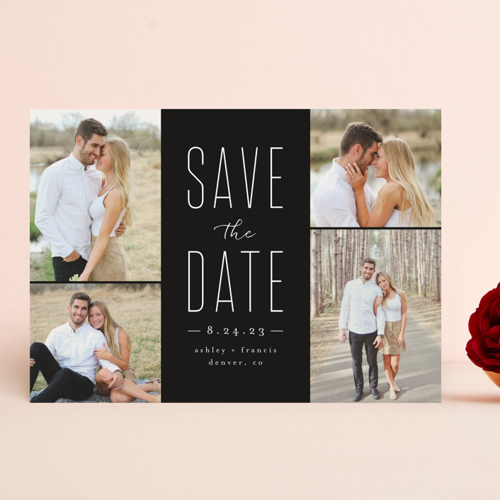 """Tall Love"" - Save The Date Cards in Charcoal by peony papeterie."