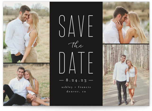 This is a landscape simple and minimalist, black Save the Dates by peony papeterie called Tall Love with Standard printing on Smooth Signature in Classic Flat Card format. This save the date is perfect for displaying multiple photos.