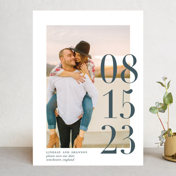 """Big Date"" - Save The Date Cards in Slate by Bethany Anderson."