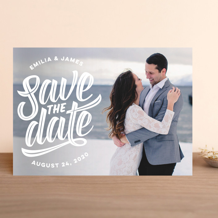 """Super Scripty"" - Whimsical & Funny Save The Date Cards in Pearl by Jessie Steury."