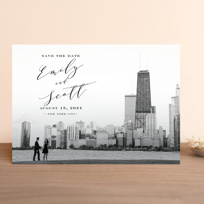 """New York Classic"" - Save The Date Cards in Midnight by Nicoletta Savod."