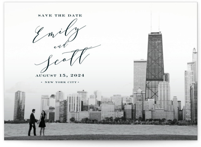 This is a landscape, portrait classic and formal, blue Save the Dates by Nicoletta Savod called Classic Save the Date with Standard printing on Smooth Signature in Classic Flat Card format. Classic black and white calligraphy makes the perfect bold ...