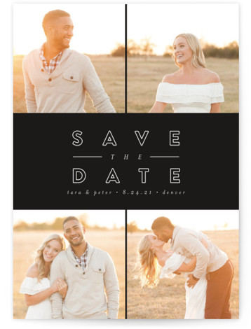 This is a portrait bold and typographic, black Save the Dates by peony papeterie called Golden Love with Standard printing on Signature in Classic Flat Card format. This photo save the date is perfect for displaying multiple photos.
