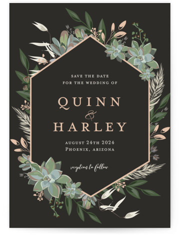 Succulent Surround Save The Date Cards