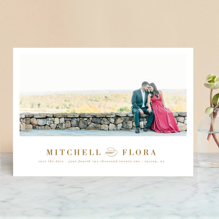 """Simply Stated"" - Modern Save The Date Cards in Gold by Roxy Cervantes."