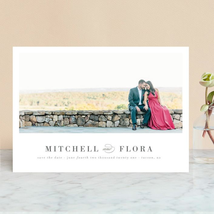 """""""Simply Stated"""" - Modern Save The Date Cards in Charocal by Roxy Cervantes."""