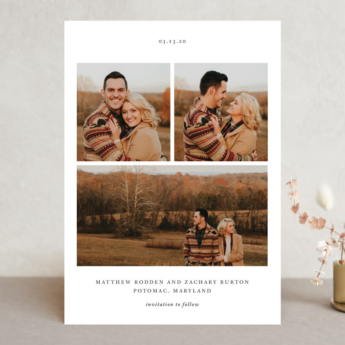 """""""Simple Bliss"""" - Save The Date Cards in Slate by That Girl Press."""