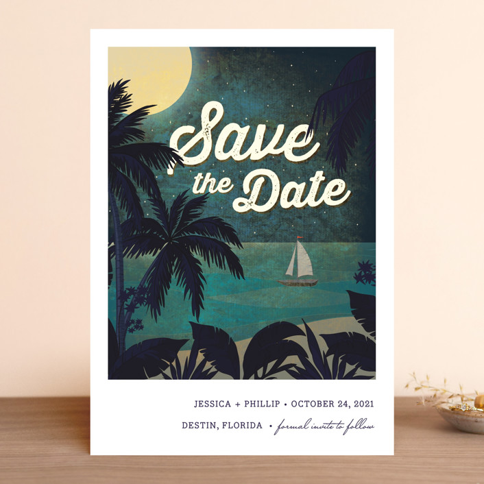 """""""At Dusk"""" - Save The Date Cards in Bark by Rebecca Bowen."""