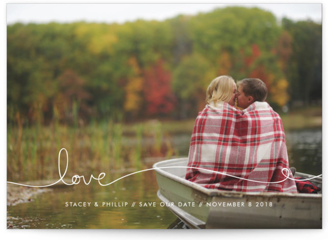 This is a landscape simple and minimalist, white Save the Dates by Kelly Ventura called Love Line with Standard printing on Smooth Signature in Classic Flat Card format. Add a bit more love to announce your special day to friends ...