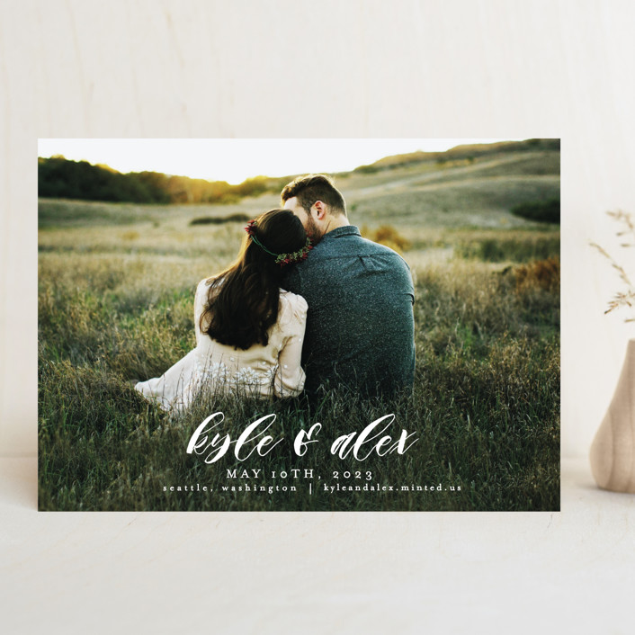 """Harmony"" - Save The Date Cards in Cream by AK Graphics."