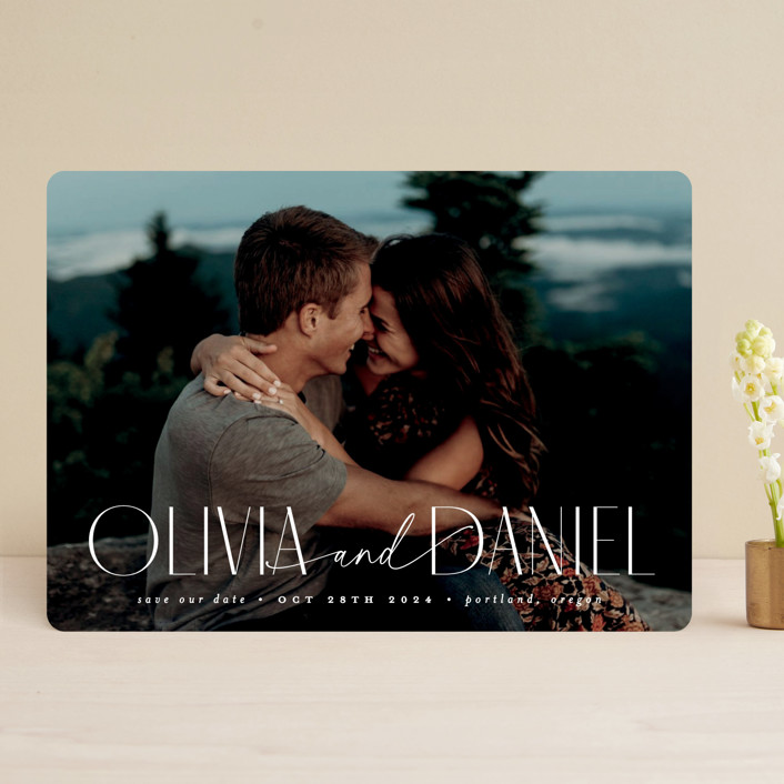 """""""Modern Named"""" - Save The Date Cards in Diamond by Everett Paper Goods."""