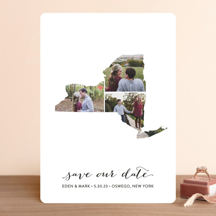 """""""New York Love Location"""" - Save The Date Cards in Wedding Dress by Heather Buchma."""