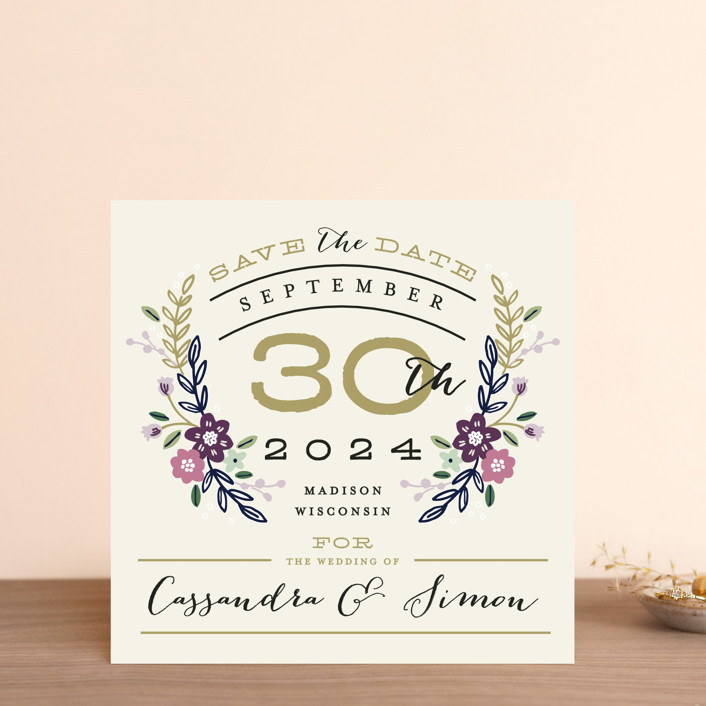 """Wildflower Crest"" - Save The Date Cards in Orchid by Alethea and Ruth."
