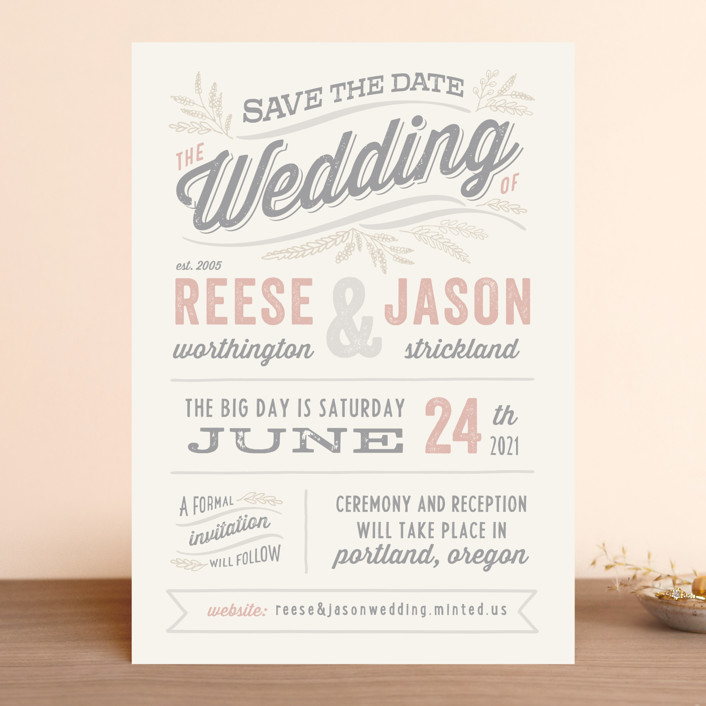 """""""Rustic Charm"""" - Rustic Save The Date Cards in Petal by Hooray Creative."""
