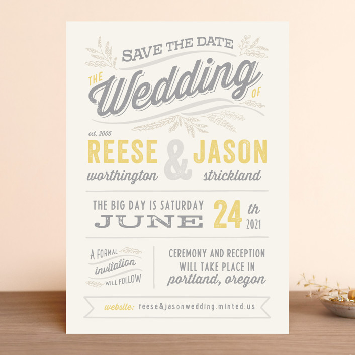 """Rustic Charm"" - Rustic Save The Date Cards in Petal by Hooray Creative."
