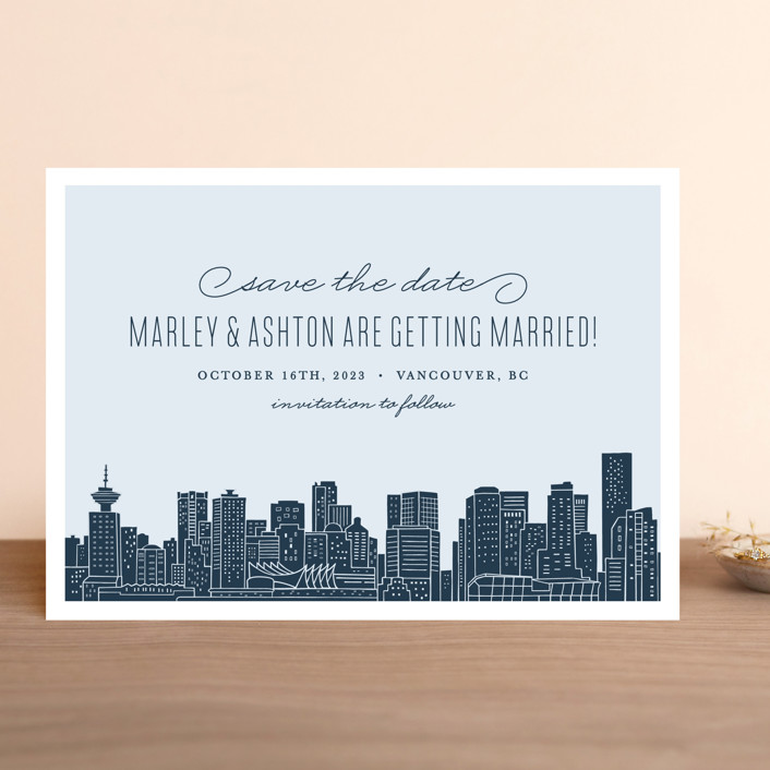 """Big City - Vancouver"" - Save The Date Cards in Pale Blue by Hooray Creative."