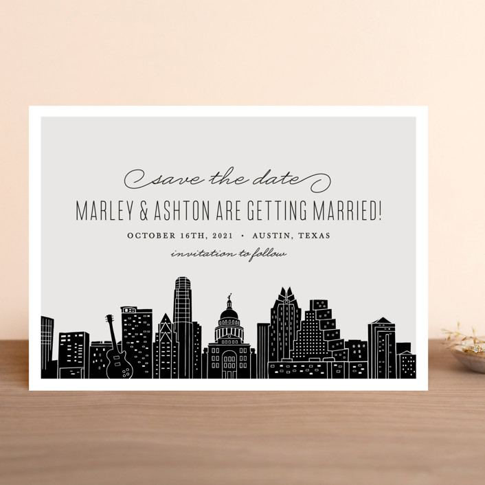 """Big City - Austin"" - Save The Date Cards in Light Taupe by Hooray Creative."