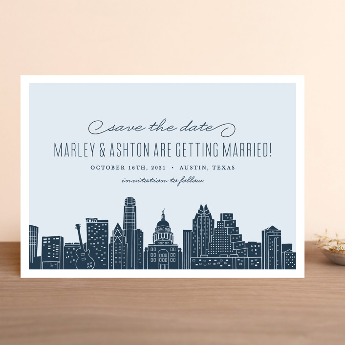 """""""Big City - Austin"""" - Save The Date Cards in Pale Blue by Hooray Creative."""
