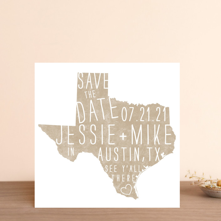 """State Stamp - Texas"" - Save The Date Cards in Kraft by Fig and Cotton."