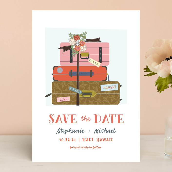 """Luggage"" - Save The Date Cards in Coral by Rebecca Bowen."