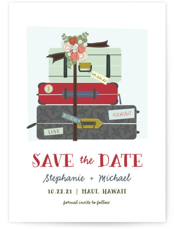 This is a portrait illustrative, red Save the Dates by Rebecca Bowen called Luggage with Standard printing on Signature in Classic Flat Card format. All packed and ready to wed!