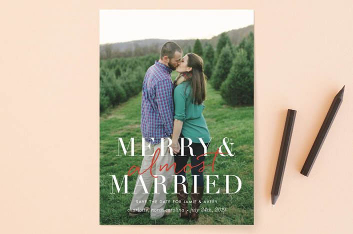 """merry and almost married"" - Modern Save The Date Cards in Snow by Sara Hicks Malone."