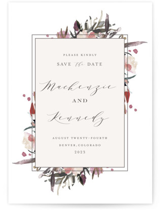 Moody Blooms Save The Date Cards