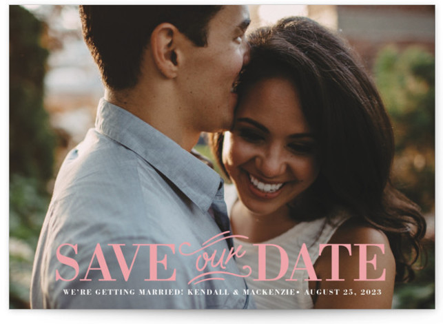 This is a landscape bold and typographic, pink Save the Dates by Griffinbell Paper Co. called Allegro with Standard printing on Smooth Signature in Classic Flat Card format. Classic type pairs with a calligraphic centerpiece in a full bleed photo ...