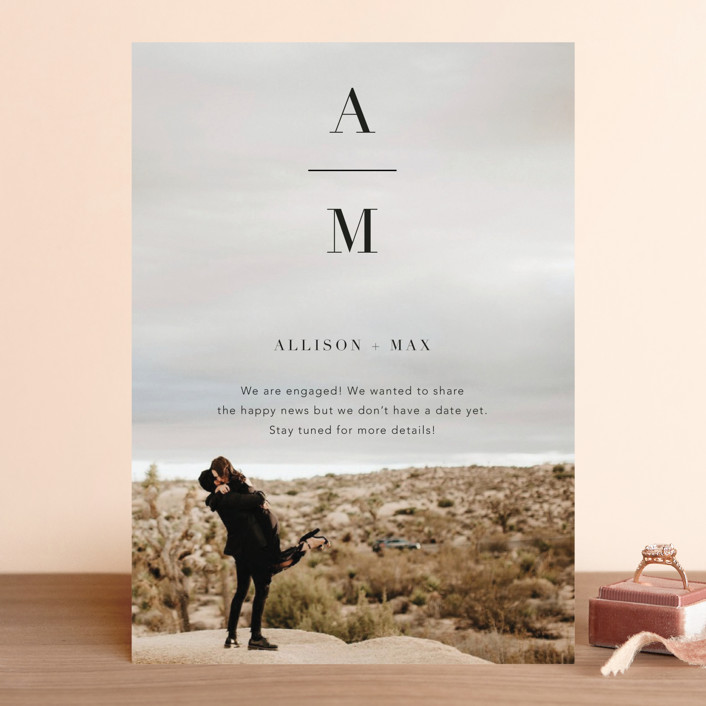 """""""Stacked Initials"""" - Save The Date Cards in Night by Ashley Lopez."""
