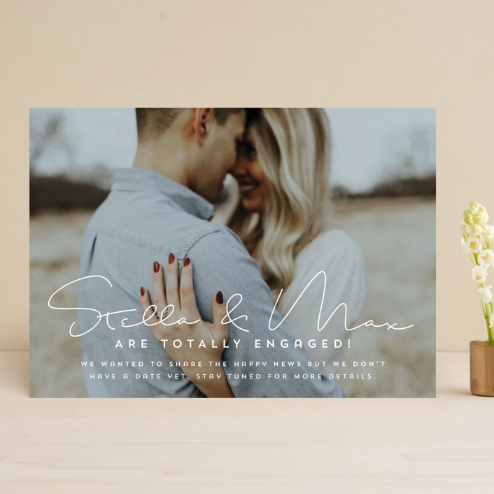 """totally in love"" - Save The Date Cards in Cotton by Guess What Design Studio."