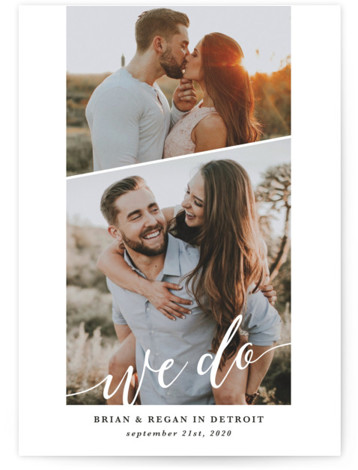 This is a portrait simple and minimalist, white Save the Dates by Laura Hamm called We Do with Standard printing on Smooth Signature in Classic Flat Card format. Multi photo save the dave with whimsical type