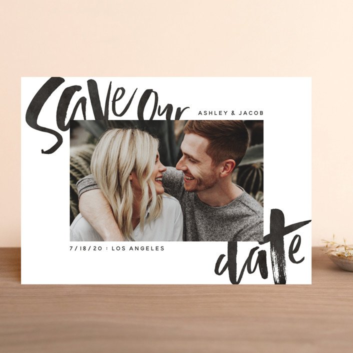 """Marker"" - Hand Drawn Save The Date Cards in Onyx by GeekInk Design."