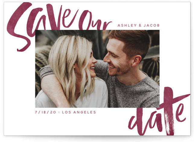 This is a landscape hand drawn, painterly, purple Save the Dates by GeekInk Design called Marker with Standard printing on Smooth Signature in Classic Flat Card format. Modern handwritten save the date.
