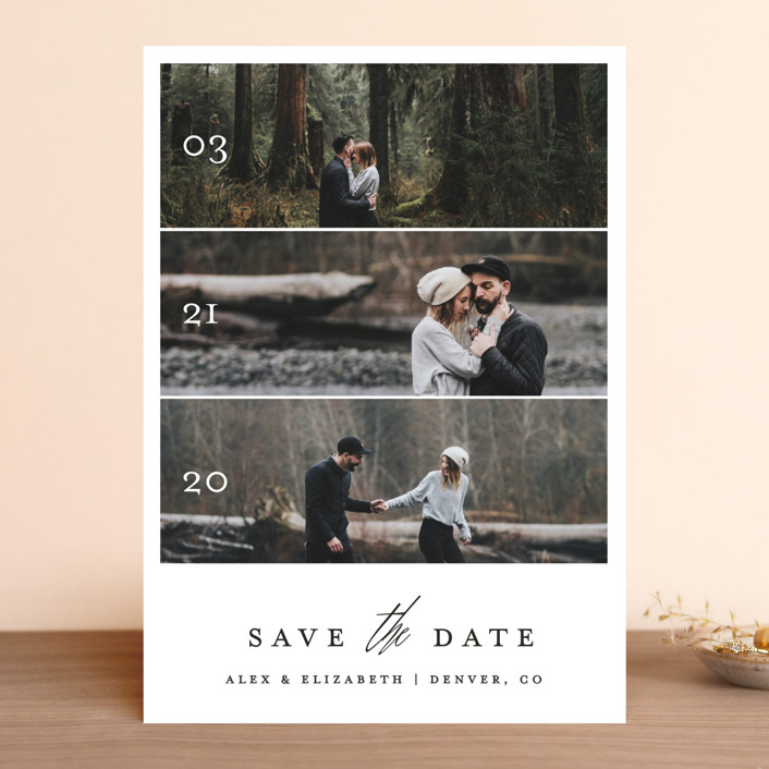 """""""Triptych Love"""" - Save The Date Cards in Silk by Becca Thongkham."""