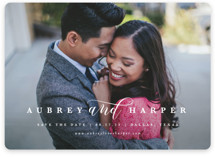This is a white save the date by Lauren Chism called United with standard printing on smooth signature in standard.