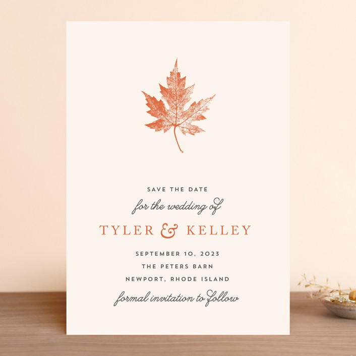 """Leaf Print"" - Save The Date Cards in Mocha by Katharine Watson."