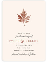 This is a brown save the date by Katharine Watson called Leaf Print with standard printing on signature in standard.