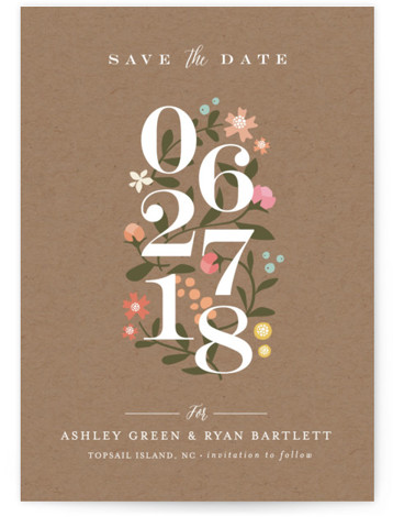 This is a portrait rustic, brown, colorful Save the Dates by Jennifer Wick called Climbing Roses with Standard printing on Signature in Classic fold over (blank inside) format. Climbing roses envelope the staggered elegant numbers for a beautiful non photo ...