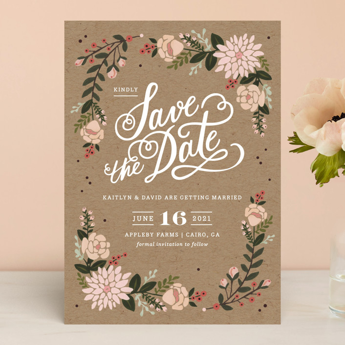 """Cottage Florals"" - Rustic Save The Date Cards in Kraft by Kristen Smith."