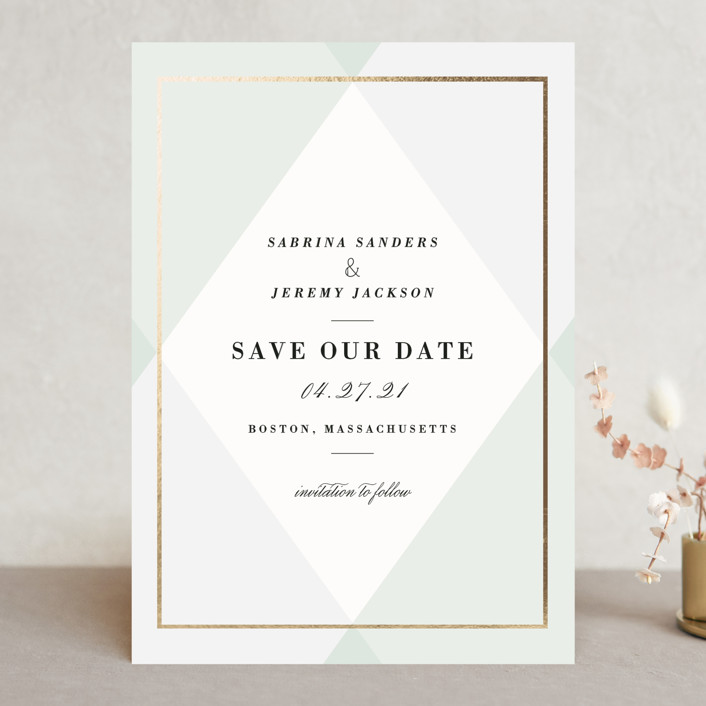 """""""Creme Brulee"""" - Preppy Save The Date Cards in Mint by chocomocacino."""
